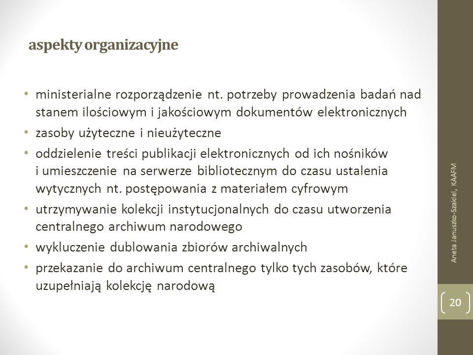 aspekty organizacyjne ministerialne rozporządzenie nt.