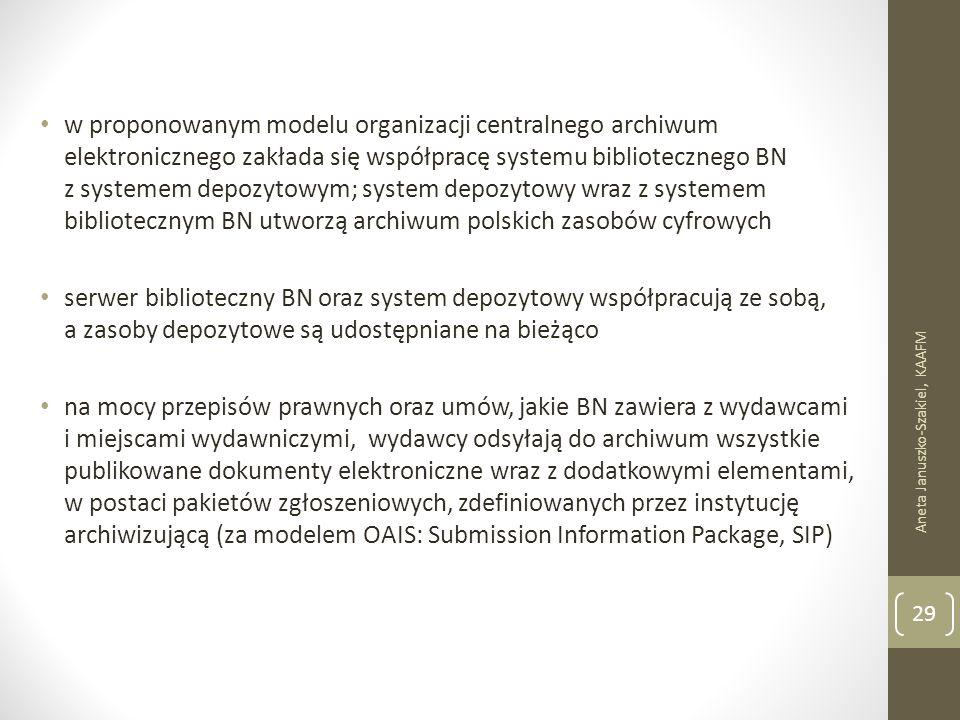 w proponowanym modelu organizacji centralnego archiwum elektronicznego zakłada się współpracę systemu bibliotecznego BN z systemem depozytowym; system depozytowy wraz z systemem bibliotecznym BN utworzą archiwum polskich zasobów cyfrowych serwer biblioteczny BN oraz system depozytowy współpracują ze sobą, a zasoby depozytowe są udostępniane na bieżąco na mocy przepisów prawnych oraz umów, jakie BN zawiera z wydawcami i miejscami wydawniczymi, wydawcy odsyłają do archiwum wszystkie publikowane dokumenty elektroniczne wraz z dodatkowymi elementami, w postaci pakietów zgłoszeniowych, zdefiniowanych przez instytucję archiwizującą (za modelem OAIS: Submission Information Package, SIP) Aneta Januszko-Szakiel, KAAFM 29