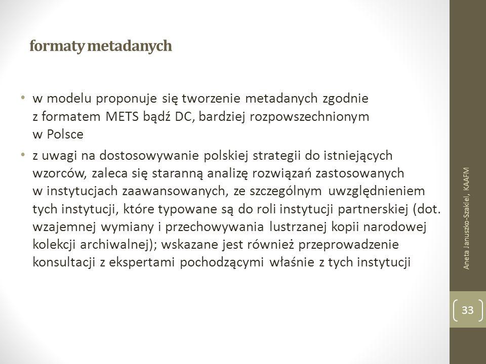 formaty metadanych w modelu proponuje się tworzenie metadanych zgodnie z formatem METS bądź DC, bardziej rozpowszechnionym w Polsce z uwagi na dostosowywanie polskiej strategii do istniejących wzorców, zaleca się staranną analizę rozwiązań zastosowanych w instytucjach zaawansowanych, ze szczególnym uwzględnieniem tych instytucji, które typowane są do roli instytucji partnerskiej (dot.