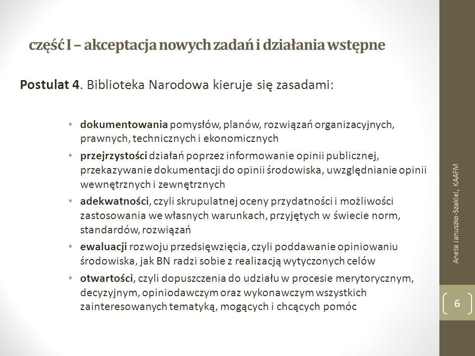 część I – akceptacja nowych zadań i działania wstępne Postulat 4.