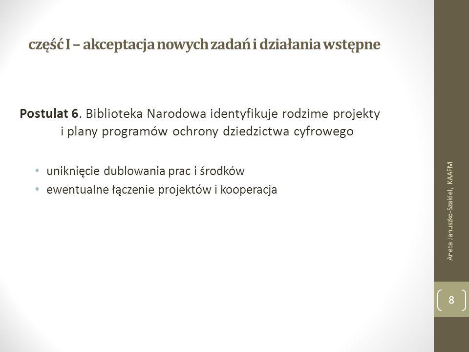część I – akceptacja nowych zadań i działania wstępne Postulat 6.