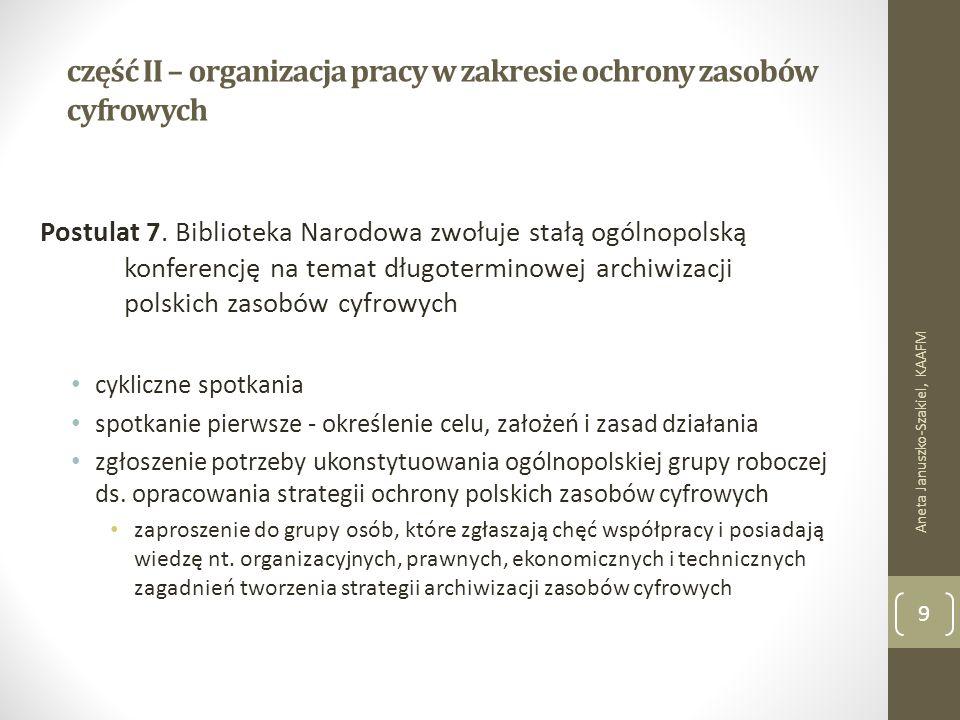 część II – organizacja pracy w zakresie ochrony zasobów cyfrowych Postulat 7.