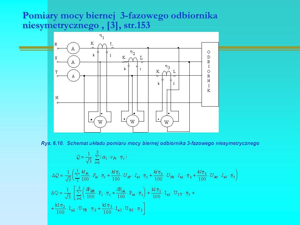 Pomiary mocy biernej 3-fazowego odbiornika niesymetrycznego, [3], str.153 Rys. 6.10. Schemat układu pomiaru mocy biernej odbiornika 3-fazowego niesyme