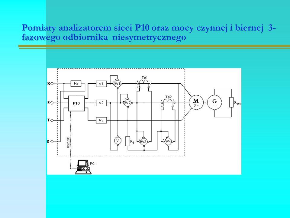 Pomiary analizatorem sieci P10 oraz mocy czynnej i biernej 3- fazowego odbiornika niesymetrycznego