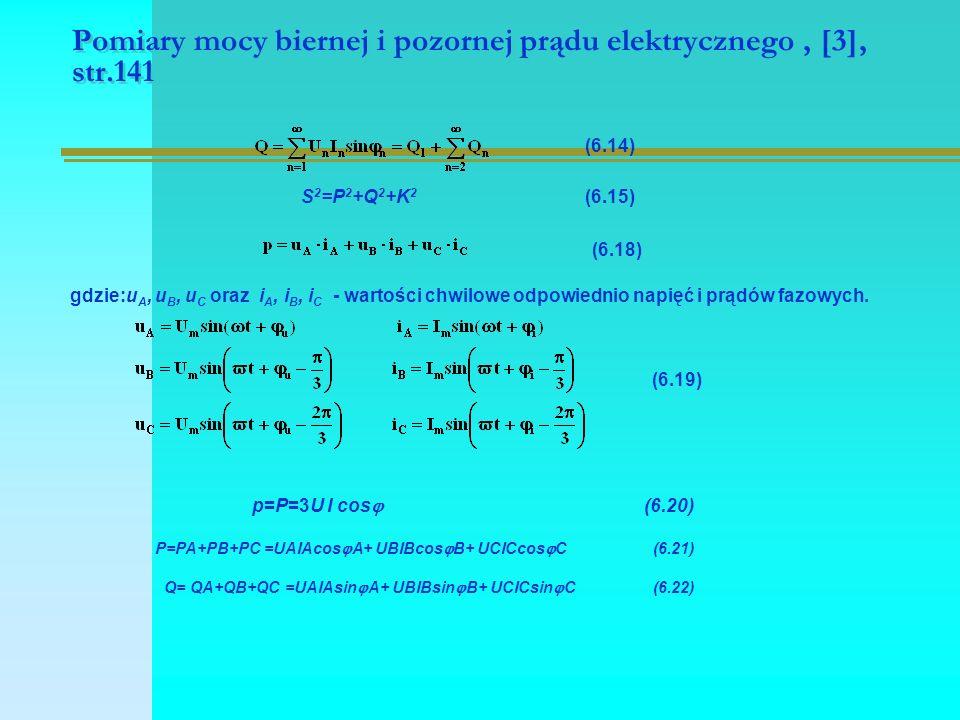 Pomiary mocy biernej i pozornej prądu elektrycznego, [3], str.141 (6.14) S 2 =P 2 +Q 2 +K 2 (6.15) (6.18) gdzie:u A, u B, u C oraz i A, i B, i C - war
