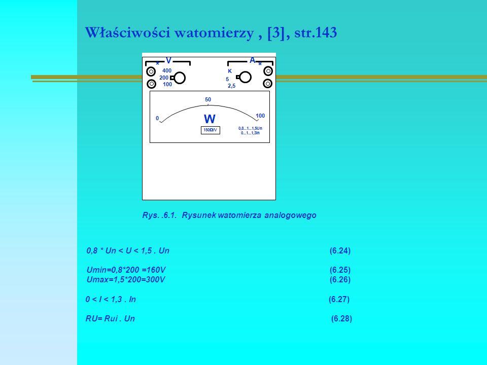 Właściwości watomierzy, [3], str.143 Rys..6.1. Rysunek watomierza analogowego 0,8 * Un < U < 1,5. Un (6.24) Umin=0,8*200 =160V(6.25) Umax=1,5*200=300V