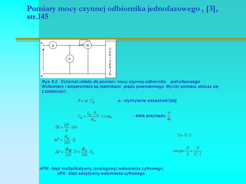 Pomiary mocy czynnej odbiornika jednofazowego, [3], str.145 Rys. 6.2. Schemat układu do pomiaru mocy czynnej odbiornika jednofazowego Woltomierz i amp