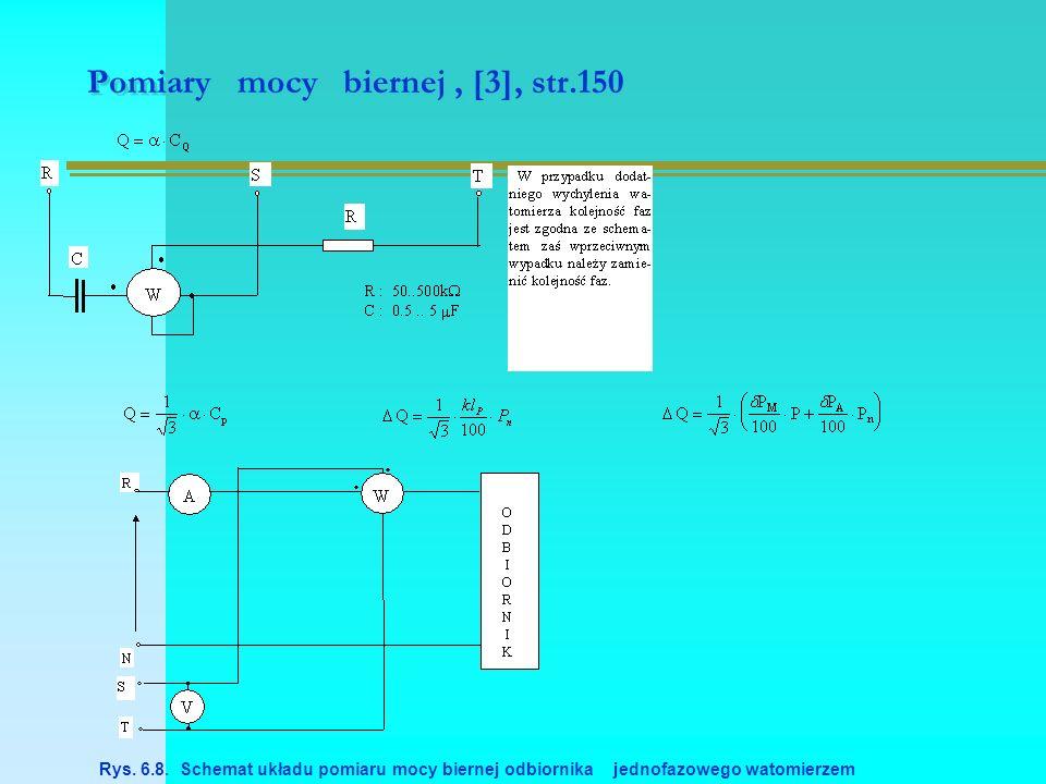 Pomiary mocy biernej, [3], str.150 Rys. 6.8. Schemat układu pomiaru mocy biernej odbiornika jednofazowego watomierzem