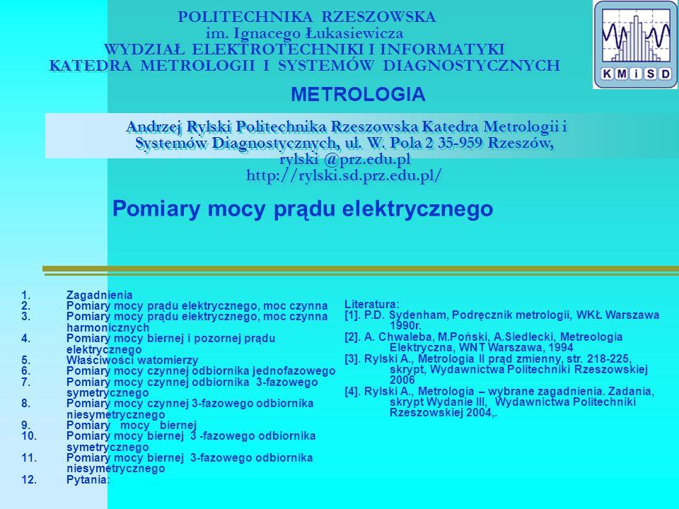 Pomiary mocy prądu elektrycznego, moc czynna, [3], str.139 p(t)=u(t).