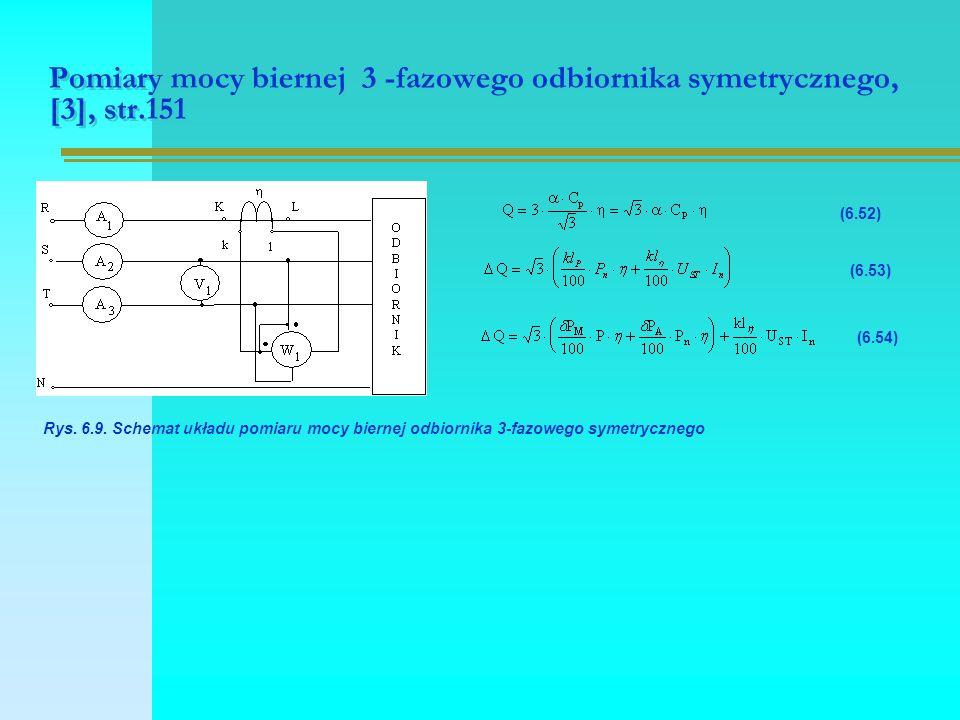 Pomiary mocy biernej 3 -fazowego odbiornika symetrycznego, [3], str.151 Rys. 6.9. Schemat układu pomiaru mocy biernej odbiornika 3-fazowego symetryczn