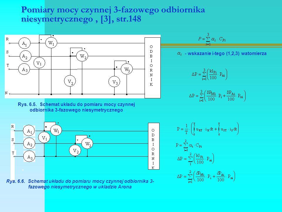 Pomiary mocy czynnej 3-fazowego odbiornika niesymetrycznego, [3], str.148 Rys. 6.5. Schemat układu do pomiaru mocy czynnej odbiornika 3-fazowego niesy