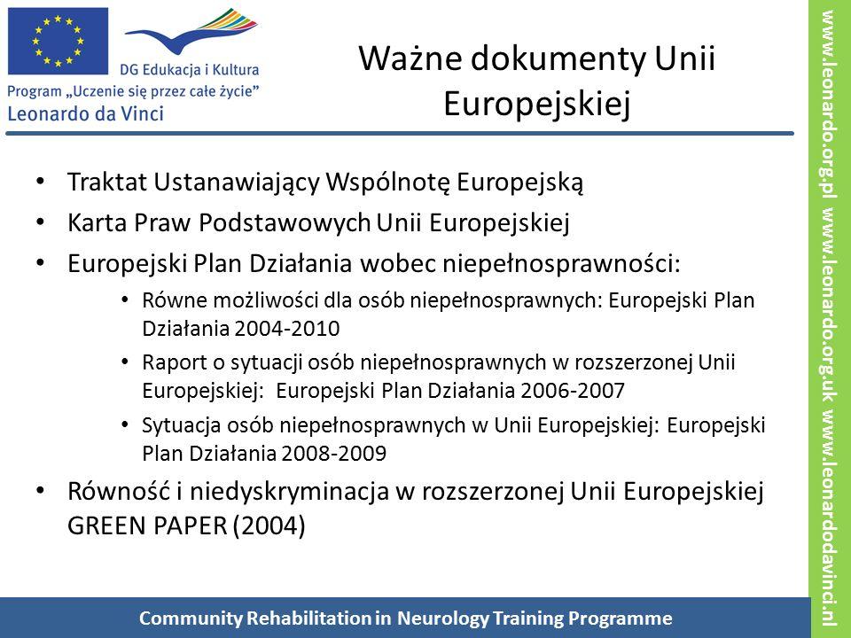 www.leonardo.org.pl www.leonardo.org.uk www.leonardodavinci.nl Ważne dokumenty Unii Europejskiej Traktat Ustanawiający Wspólnotę Europejską Karta Praw Podstawowych Unii Europejskiej Europejski Plan Działania wobec niepełnosprawności: Równe możliwości dla osób niepełnosprawnych: Europejski Plan Działania 2004-2010 Raport o sytuacji osób niepełnosprawnych w rozszerzonej Unii Europejskiej: Europejski Plan Działania 2006-2007 Sytuacja osób niepełnosprawnych w Unii Europejskiej: Europejski Plan Działania 2008-2009 Równość i niedyskryminacja w rozszerzonej Unii Europejskiej GREEN PAPER (2004) Community Rehabilitation in Neurology Training Programme