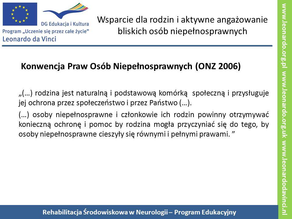 """www.leonardo.org.pl www.leonardo.org.uk www.leonardodavinci.nl Wsparcie dla rodzin i aktywne angażowanie bliskich osób niepełnosprawnych Konwencja Praw Osób Niepełnosprawnych (ONZ 2006) """"(…) rodzina jest naturalną i podstawową komórką społeczną i przysługuje jej ochrona przez społeczeństwo i przez Państwo (…)."""