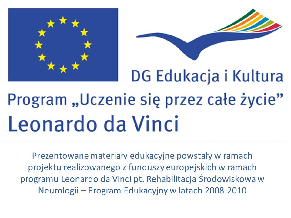 www.leonardo.org.pl www.leonardo.org.uk www.leonardodavinci.nl Issues Policies alone don't change practice Translation of the policies into national legal acts is called for Implementation of the policies is everyones responsibility Rehabilitacja Środowiskowa w Neurologii – Program Edukacyjny