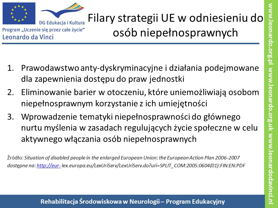 """www.leonardo.org.pl www.leonardo.org.uk www.leonardodavinci.nl Ogólne zasady Równe prawa Sytuacja osób niepełnosprawnych w rozszerzonej Unii Europejskiej: Europejski Plan Działania 2006-2007 """"Równość szans jest podstawą długofalowej strategii Unii Europejskiej w odniesieniu do niepełnosprawności, która ma na celu umożliwić osobom niepełnosprawnym cieszenie się prawem do godności, równego traktowania, niezależnego mieszkania i uczestniczenia w życiu społecznym."""" http://eur-lex.europa.eu/LexUriServ/LexUriServ.do?uri=SPLIT_COM:2005:0604(01):FIN:EN:PDF Sytuacja osób niepełnosprawnych w Unii Europejskiej: Europejski Plan Działania 2008-2009 """"Państwa Członkowskie i inni zainteresowani zidentyfikowali dostępność jako priorytet dla aktywnego włączania (osób niepełnosprawnych przyp."""