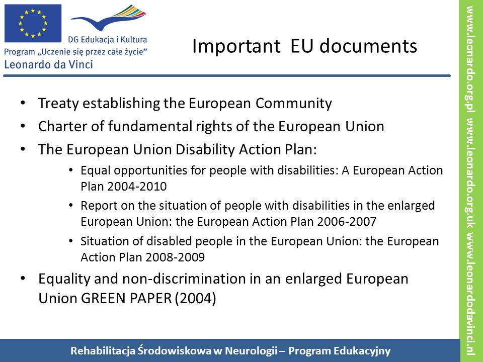 www.leonardo.org.pl www.leonardo.org.uk www.leonardodavinci.nl Deinstytucjonalizacja, promocja niezależnych form zamieszkania i rozwój rehabilitacji środowiskowej Konwencja praw osób niepełnosprawnych (ONZ 2006) Państwa-strony będą organizować, wzmacniać i rozwijać wszechstronne serwisy i programy habilitacyjne i rehabilitacyjne (…) w taki sposób, że te serwisy i programy: a) Będą wdrażane na możliwie jak najwcześniejszym etapie i oparte na wielodyscyplinarnej ocenie indywidualnych potrzeb i silnych stron (osoby niepełnosprawnej przyp.