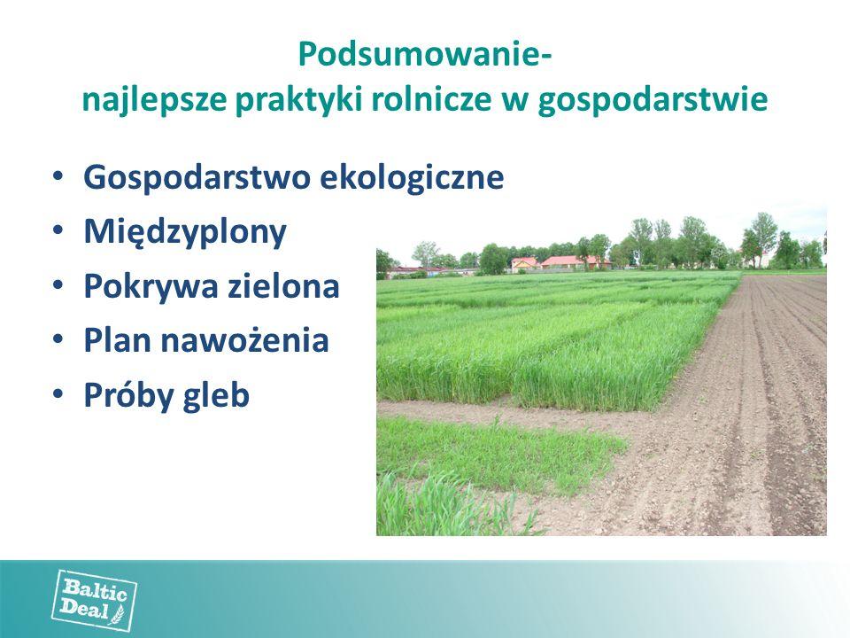 Podsumowanie- najlepsze praktyki rolnicze w gospodarstwie Gospodarstwo ekologiczne Międzyplony Pokrywa zielona Plan nawożenia Próby gleb