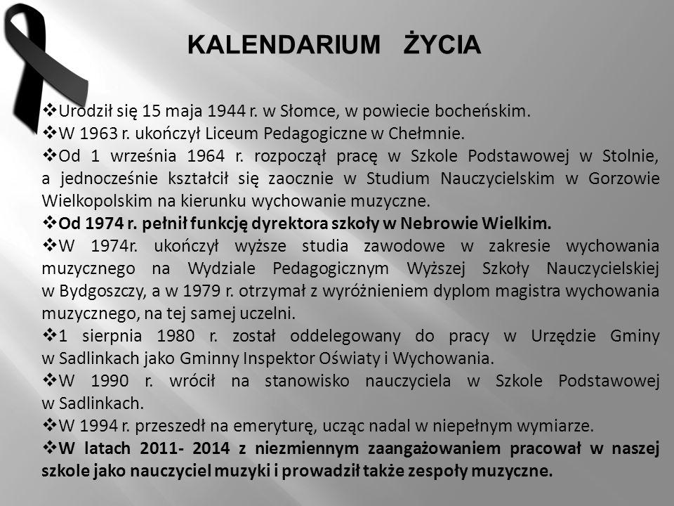  Urodził się 15 maja 1944 r. w Słomce, w powiecie bocheńskim.  W 1963 r. ukończył Liceum Pedagogiczne w Chełmnie.  Od 1 września 1964 r. rozpoczął