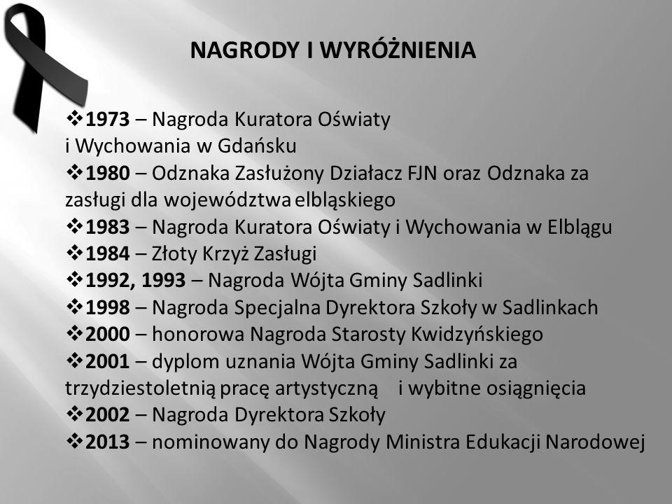 NAGRODY I WYRÓŻNIENIA  1973 – Nagroda Kuratora Oświaty i Wychowania w Gdańsku  1980 – Odznaka Zasłużony Działacz FJN oraz Odznaka za zasługi dla woj