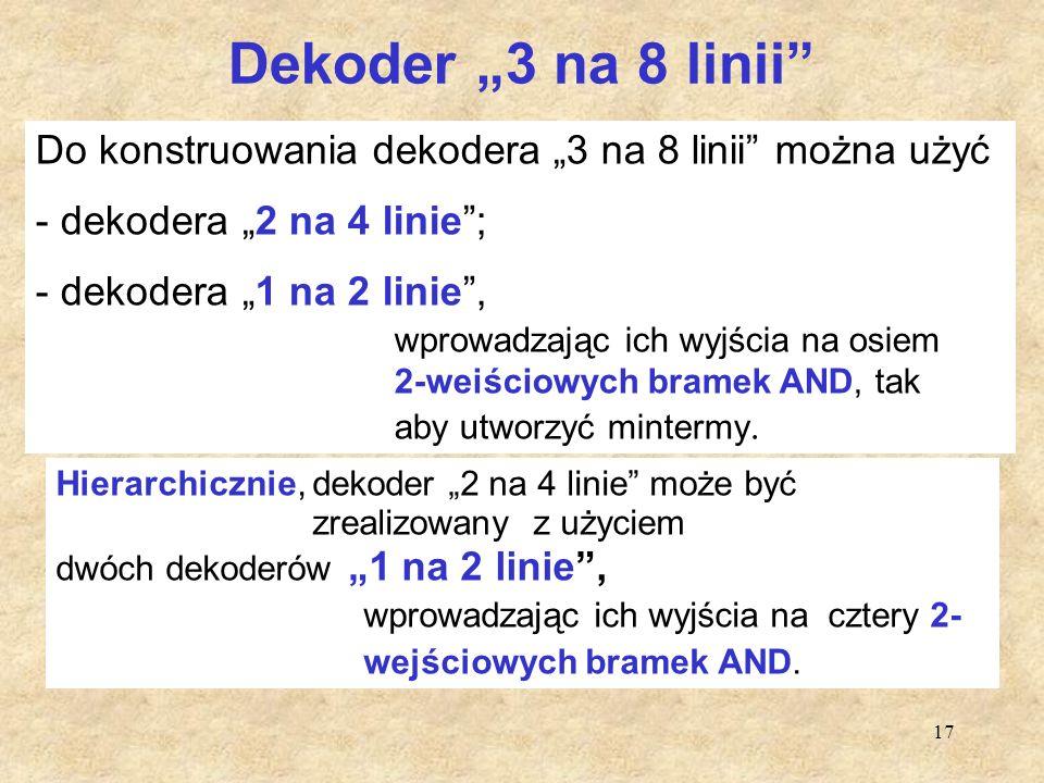 """17 Dekoder """"3 na 8 linii"""" Do konstruowania dekodera """"3 na 8 linii"""" można użyć - dekodera """"2 na 4 linie""""; - dekodera """"1 na 2 linie"""", wprowadzając ich w"""