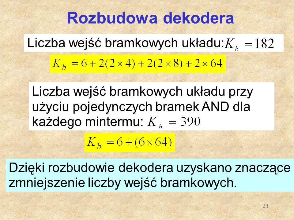 21 Rozbudowa dekodera Liczba wejść bramkowych układu: Liczba wejść bramkowych układu przy użyciu pojedynczych bramek AND dla każdego mintermu: Dzięki