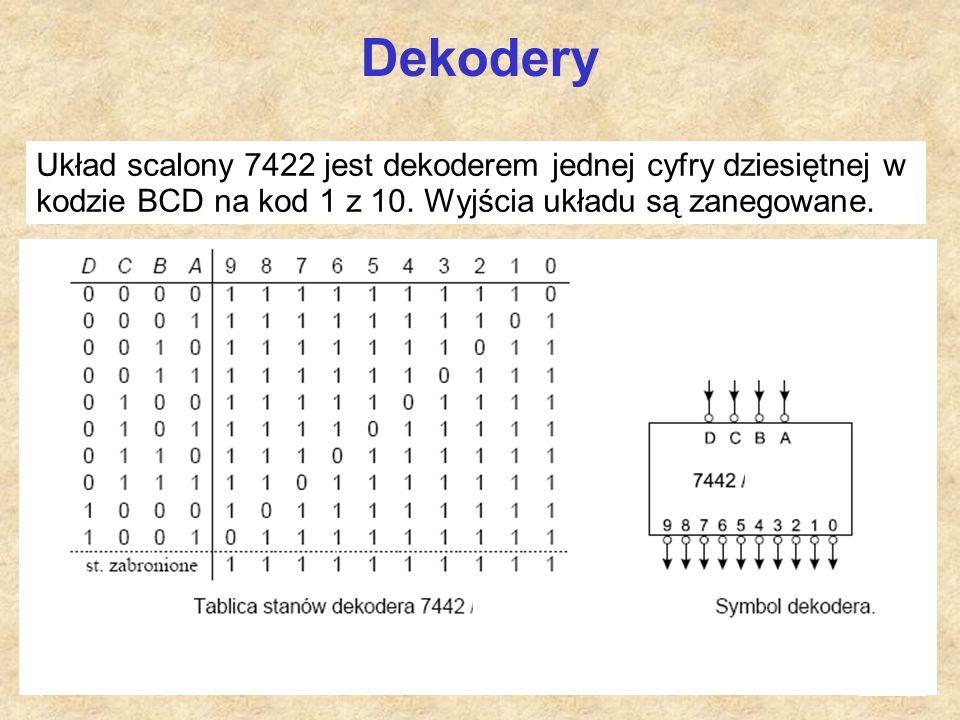 26 Dekodery Układ scalony 7422 jest dekoderem jednej cyfry dziesiętnej w kodzie BCD na kod 1 z 10. Wyjścia układu są zanegowane.