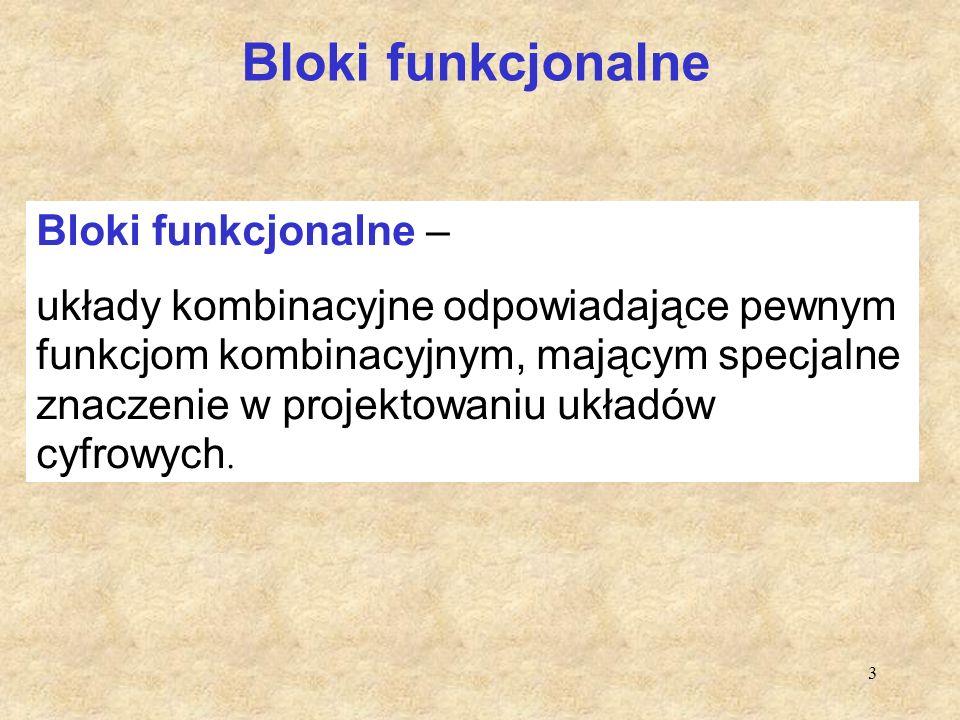 3 Bloki funkcjonalne Bloki funkcjonalne – układy kombinacyjne odpowiadające pewnym funkcjom kombinacyjnym, mającym specjalne znaczenie w projektowaniu