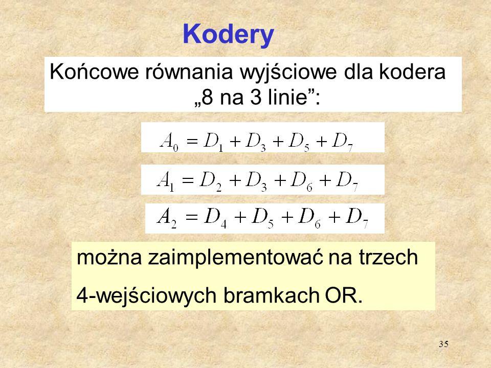"""35 Kodery Końcowe równania wyjściowe dla kodera """"8 na 3 linie"""": b można zaimplementować na trzech 4-wejściowych bramkach OR."""