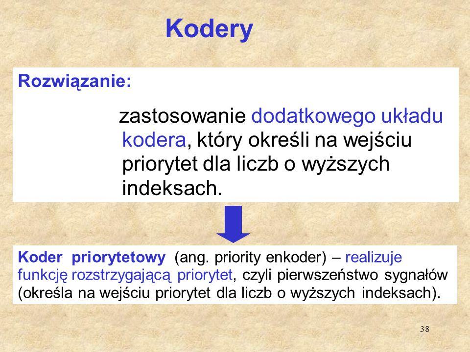 38 Kodery Koder priorytetowy (ang. priority enkoder) – realizuje funkcję rozstrzygającą priorytet, czyli pierwszeństwo sygnałów (określa na wejściu pr