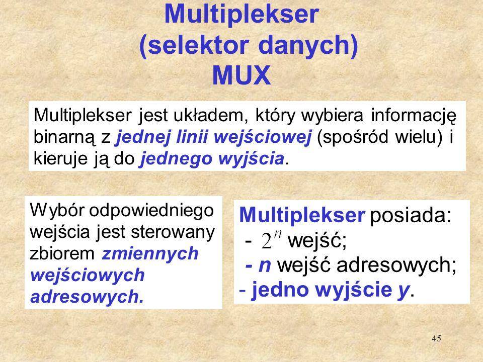 45 Multiplekser (selektor danych) MUX Multiplekser jest układem, który wybiera informację binarną z jednej linii wejściowej (spośród wielu) i kieruje