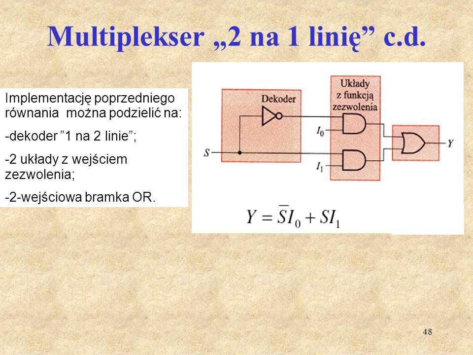 """48 Multiplekser """"2 na 1 linię"""" c.d. Implementację poprzedniego równania można podzielić na: -dekoder """"1 na 2 linie""""; -2 układy z wejściem zezwolenia;"""