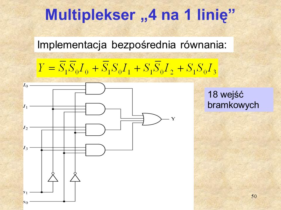 """50 Multiplekser """"4 na 1 linię"""" 18 wejść bramkowych Implementacja bezpośrednia równania:"""