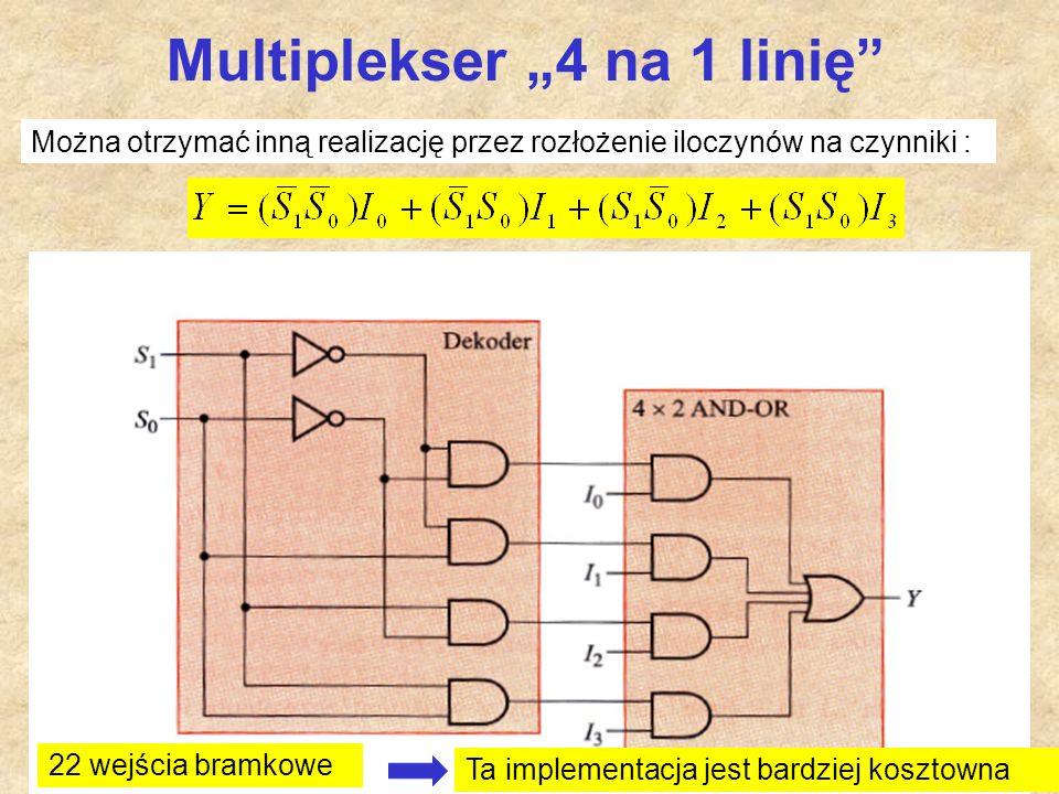 """51 Multiplekser """"4 na 1 linię"""" 22 wejścia bramkowe Można otrzymać inną realizację przez rozłożenie iloczynów na czynniki : Ta implementacja jest bardz"""