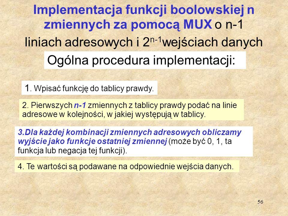 56 Implementacja funkcji boolowskiej n zmiennych za pomocą MUX o n-1 liniach adresowych i 2 n-1 wejściach danych Ogólna procedura implementacji: 1. Wp