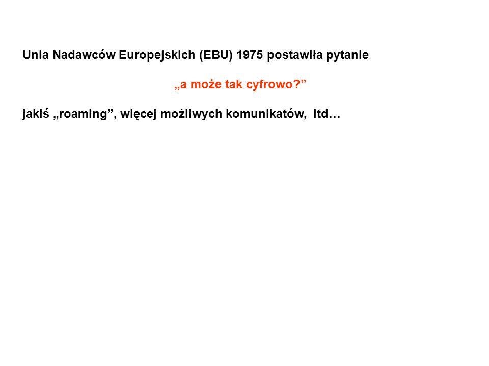 """Unia Nadawców Europejskich (EBU) 1975 postawiła pytanie """"a może tak cyfrowo?"""" jakiś """"roaming"""", więcej możliwych komunikatów, itd…"""
