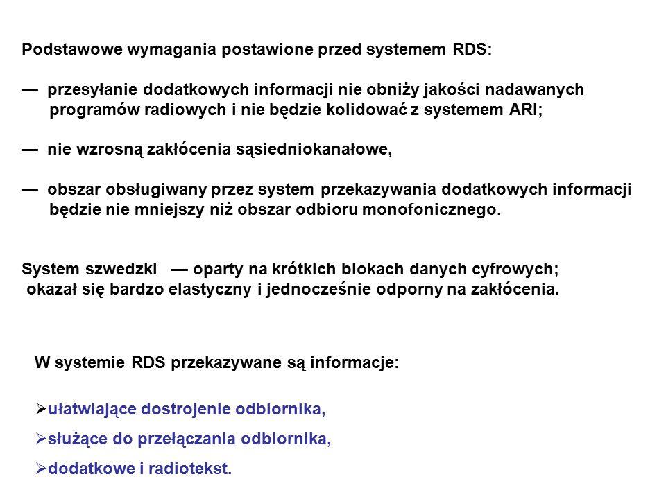 Podstawowe wymagania postawione przed systemem RDS: — przesyłanie dodatkowych informacji nie obniży jakości nadawanych programów radiowych i nie będzie kolidować z systemem ARI; — nie wzrosną zakłócenia sąsiedniokanałowe, — obszar obsługiwany przez system przekazywania dodatkowych informacji będzie nie mniejszy niż obszar odbioru monofonicznego.