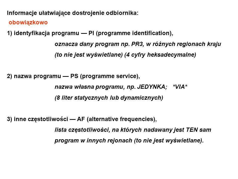 Informacje ułatwiające dostrojenie odbiornika: obowiązkowo 1) identyfikacja programu — Pl (programme identification), oznacza dany program np. PR3, w