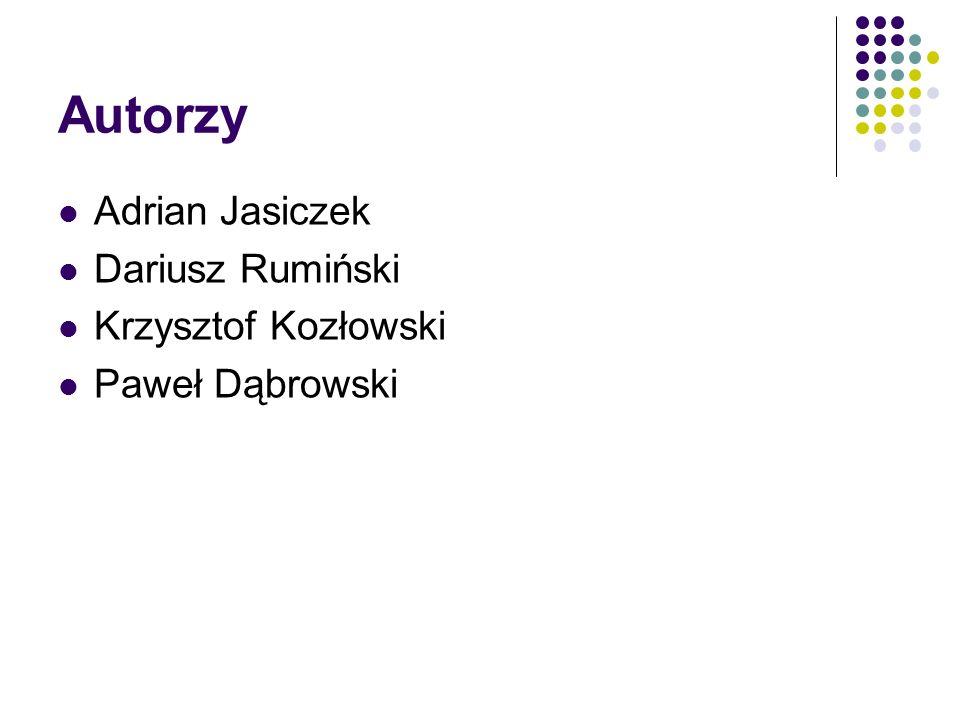 Autorzy Adrian Jasiczek Dariusz Rumiński Krzysztof Kozłowski Paweł Dąbrowski