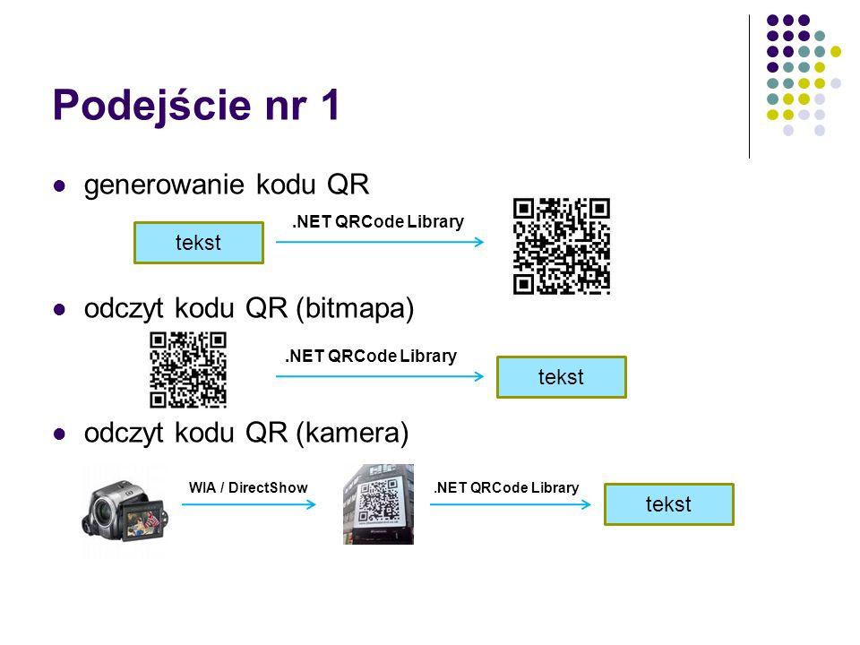Podejście nr 1 generowanie kodu QR odczyt kodu QR (bitmapa) odczyt kodu QR (kamera) tekst.NET QRCode Librarys tekst.NET QRCode Librarys tekst.NET QRCode LibrarysWIA / DirectShow