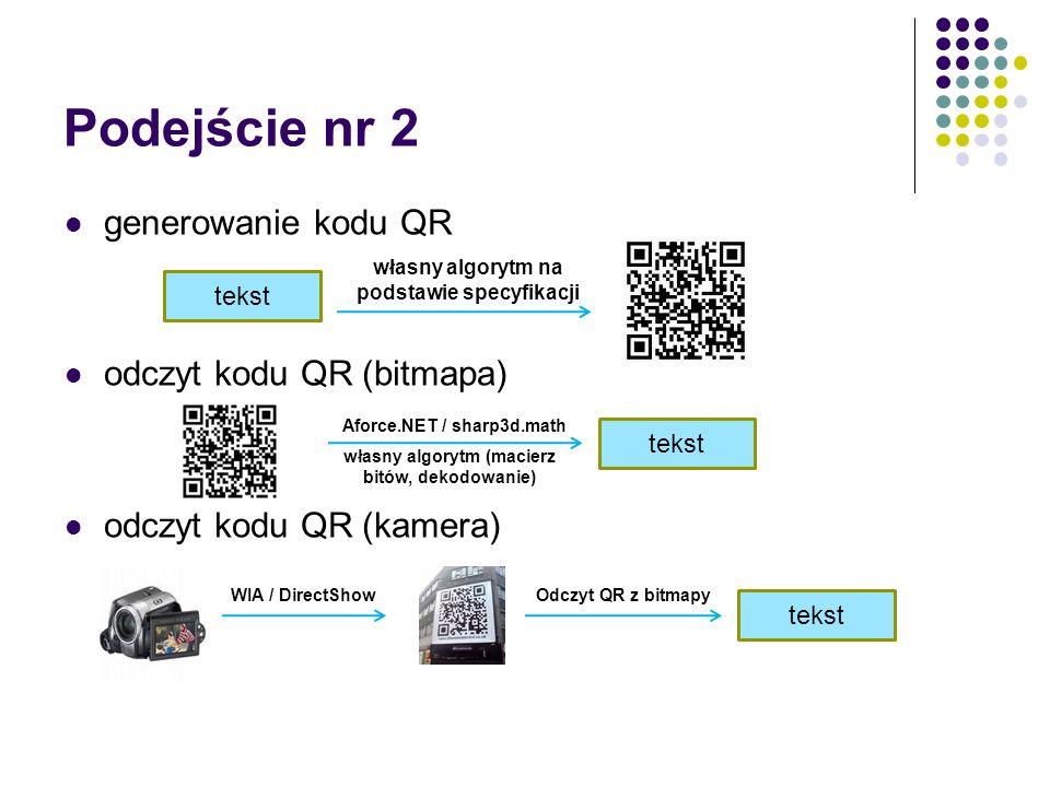 Podejście nr 2 generowanie kodu QR odczyt kodu QR (bitmapa) odczyt kodu QR (kamera) tekst własny algorytm na podstawie specyfikacji tekst własny algorytm (macierz bitów, dekodowanie) Aforce.NET / sharp3d.math WIA / DirectShowOdczyt QR z bitmapy tekst