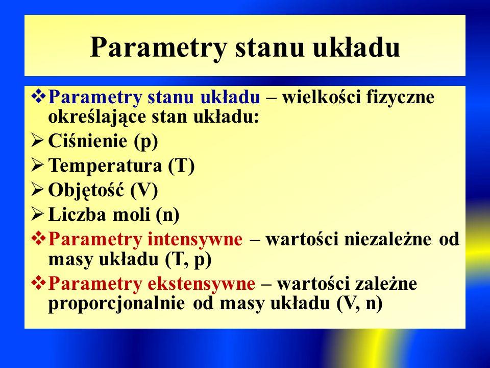 Parametry stanu układu  Parametry stanu układu – wielkości fizyczne określające stan układu:  Ciśnienie (p)  Temperatura (T)  Objętość (V)  Liczba moli (n)  Parametry intensywne – wartości niezależne od masy układu (T, p)  Parametry ekstensywne – wartości zależne proporcjonalnie od masy układu (V, n)