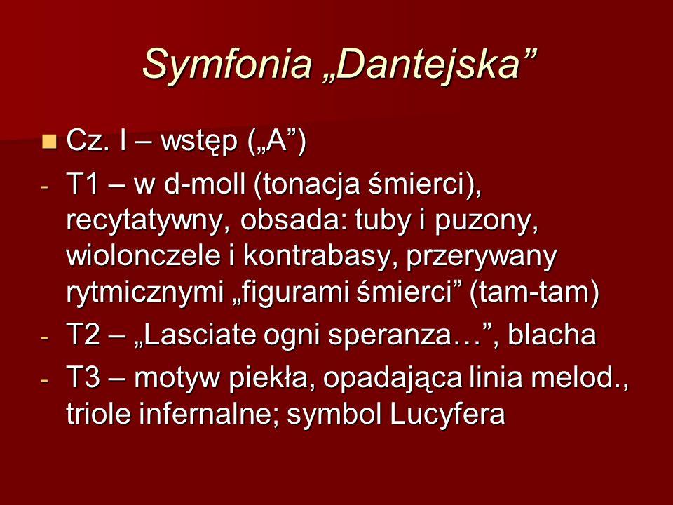 """Symfonia """"Dantejska"""" Cz. I – wstęp (""""A"""") Cz. I – wstęp (""""A"""") - T1 – w d-moll (tonacja śmierci), recytatywny, obsada: tuby i puzony, wiolonczele i kont"""