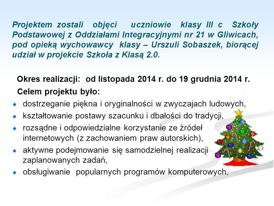 Okres realizacji: od listopada 2014 r.do 19 grudnia 2014 r.