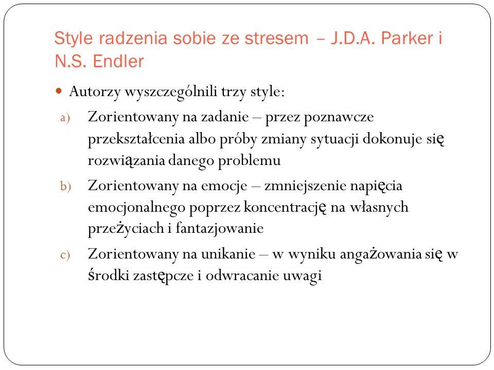 Style radzenia sobie ze stresem – J.D.A. Parker i N.S.