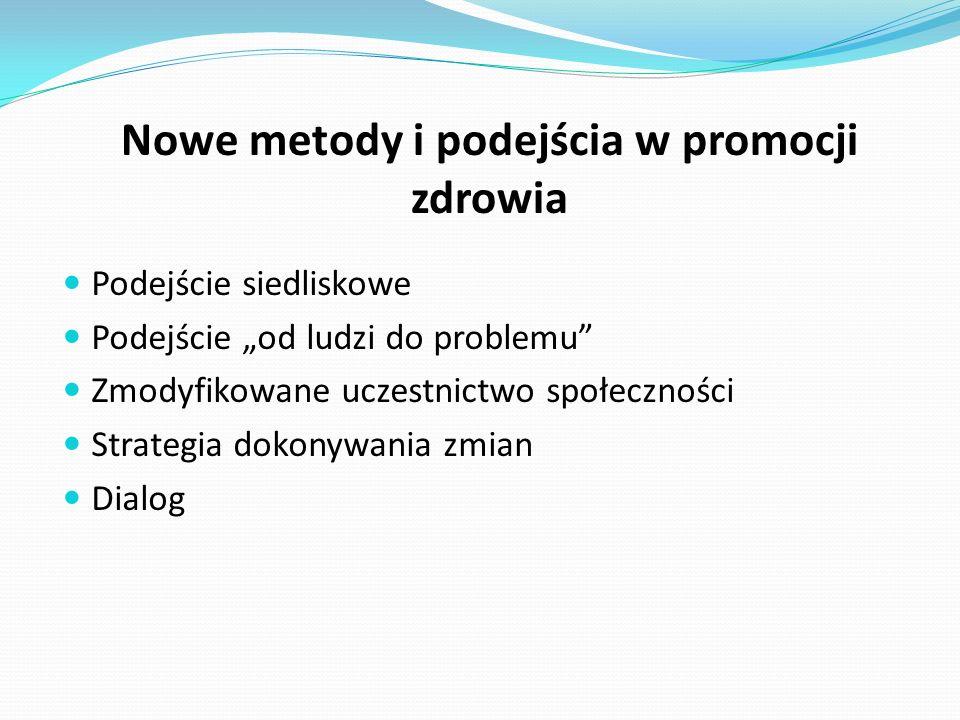 """Nowe metody i podejścia w promocji zdrowia Podejście siedliskowe Podejście """"od ludzi do problemu Zmodyfikowane uczestnictwo społeczności Strategia dokonywania zmian Dialog"""