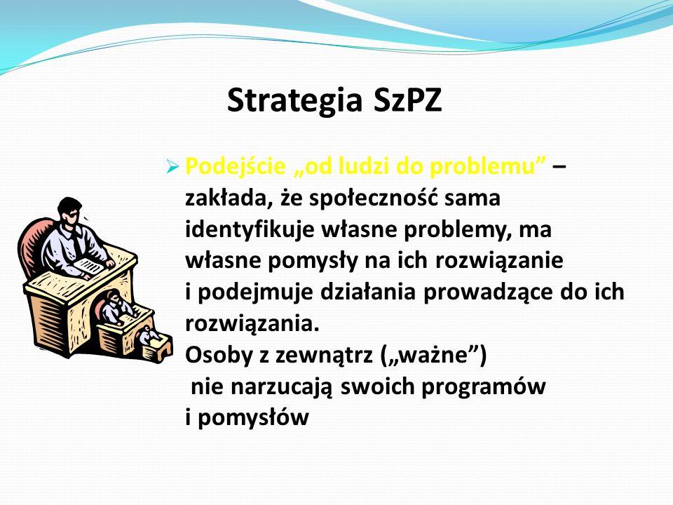 """Strategia SzPZ  Podejście """"od ludzi do problemu – zakłada, że społeczność sama identyfikuje własne problemy, ma własne pomysły na ich rozwiązanie i podejmuje działania prowadzące do ich rozwiązania."""