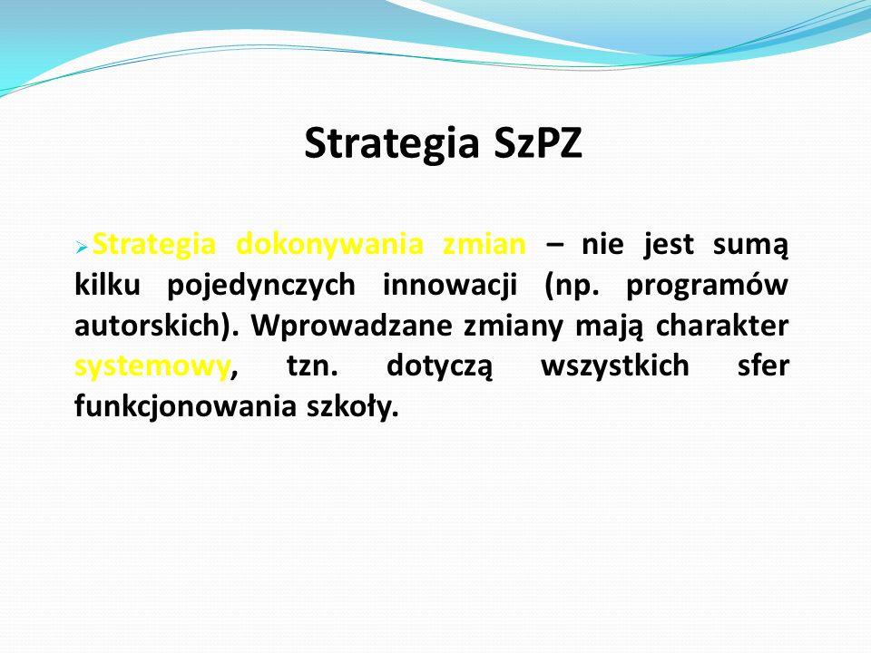 Strategia SzPZ  Strategia dokonywania zmian – nie jest sumą kilku pojedynczych innowacji (np.