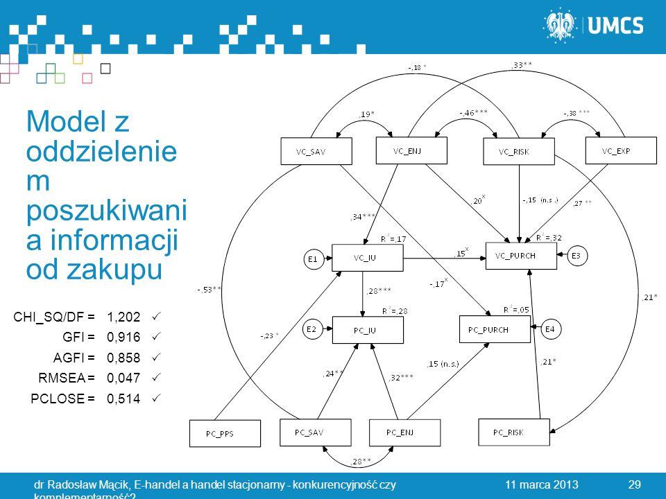 Model z oddzielenie m poszukiwani a informacji od zakupu 11 marca 2013dr Radosław Mącik, E-handel a handel stacjonarny - konkurencyjność czy komplementarność.