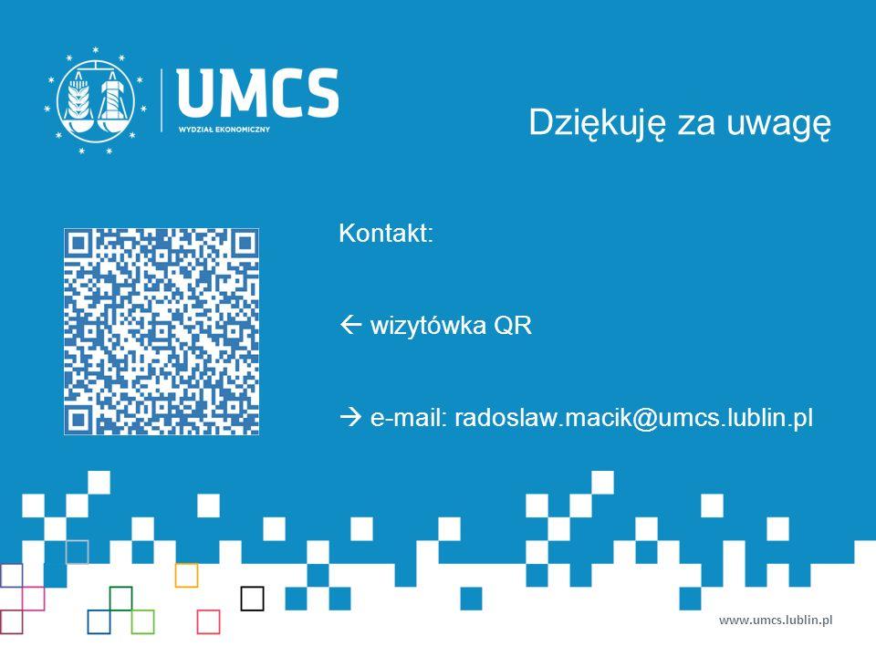 Dziękuję za uwagę www.umcs.lublin.pl Kontakt:  wizytówka QR  e-mail: radoslaw.macik@umcs.lublin.pl