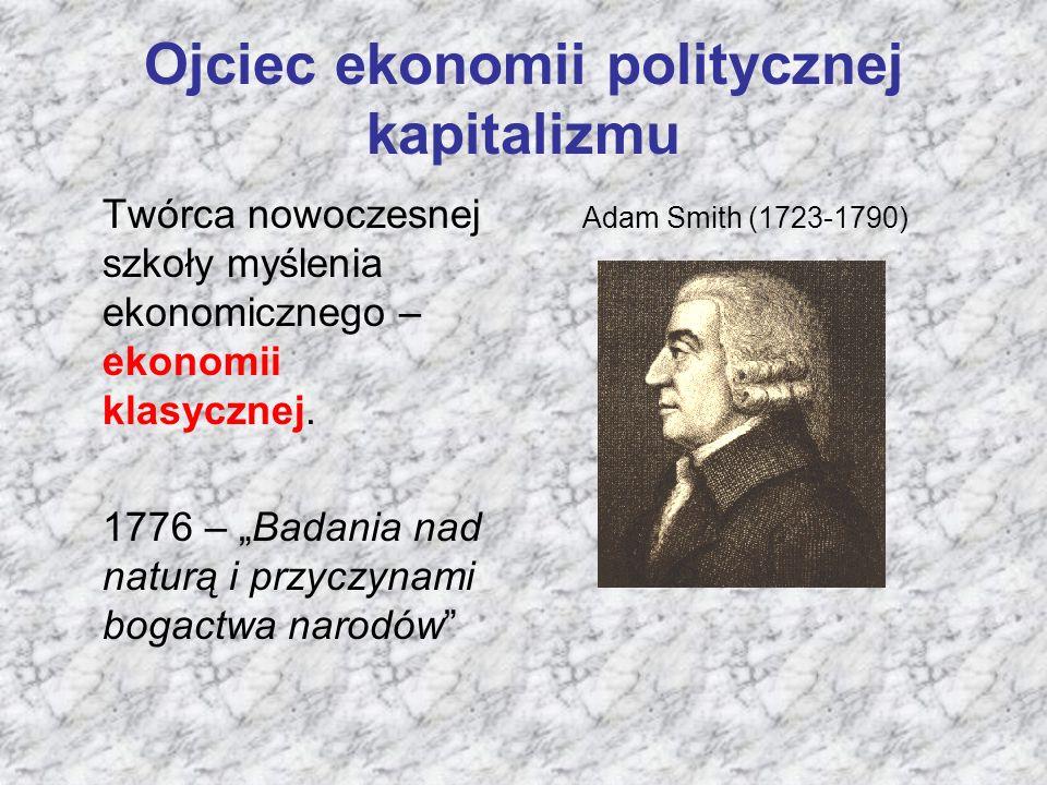 """Ojciec ekonomii politycznej kapitalizmu Twórca nowoczesnej szkoły myślenia ekonomicznego – ekonomii klasycznej. 1776 – """"Badania nad naturą i przyczyna"""